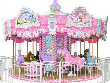 定制主题旋转木马-16座豪华转马儿童赚钱的游乐设备